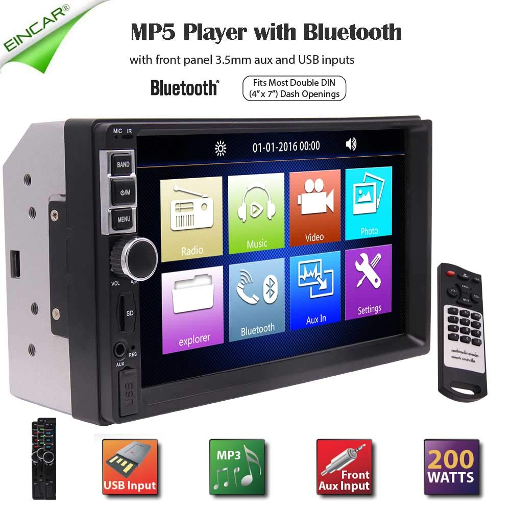 Double Din Car Electronics Multimedia High Resolution Double DIN Car Stereo Receiver with Built-in Bluetooth USB,MP3 /& WMA Player in Dash Video Audio Headunit Colorful Button Lights