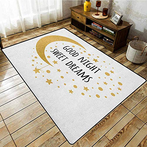 Collection Area Rug,Sweet Dreams,Cheerful Calligraphy with Moon Stars and Dots Monochrome Night Motifs,Anti-Slip Doormat Footpad Machine Washable Gold and Black