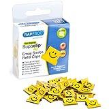 Rapesco 1380 - Pack di 100graffette di ricarica, con smiley, colore: giallo