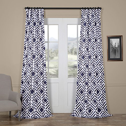 Half Price Drapes Boch-KC110A-96 Palisade Blackout Curtain, 50 x 96, Blue - Exclusive Palisades