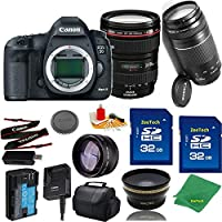 Great Value Bundle for 5D MARK III DSLR – 24-105MM L + 75-300MM III + 2PCS 32GB Memory + Wide Angle + Telephoto Lens + Case