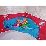 Bath Toy Organizer - BOTH Suction Cups and Stickers for Hanging - Bathtub Toys Holder Storage Net - Corner Shower Caddy Bag f