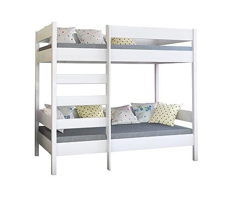 Dino bunk bed, struttura per letto a castello per bambini, in legno, con  ingresso frontale, Legno, White, 180x80x160
