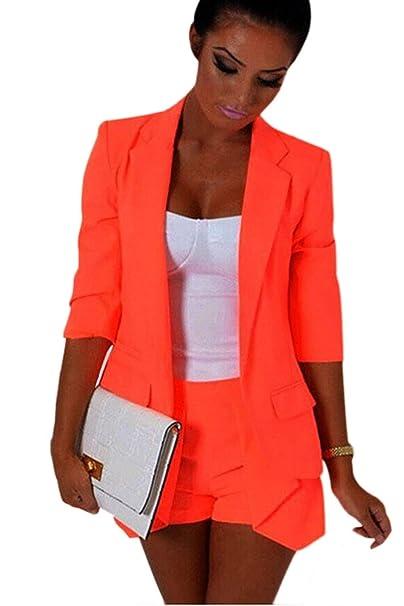 Abrigos Mujer Business Otoño Outwear Slim Fit Mangas 3/4 Fiesta Estilo De Solapa Color Sólido Irregular Blazer Moda Joven Chaqueta De Traje Niña: Amazon.es: ...