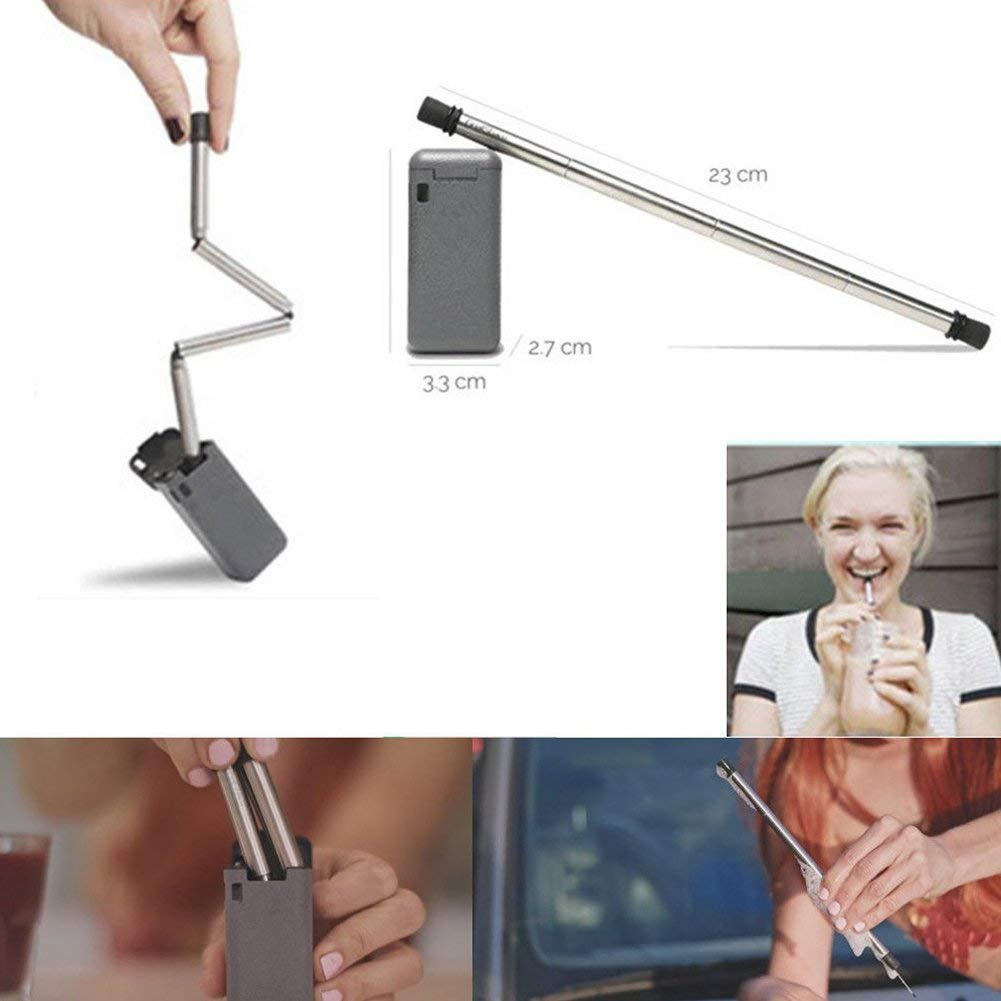 WG Suppliers Final Straw Collapsible Reusable Stainless Steel Key Chain Drinking Eco-Friendly Straw (Gray)