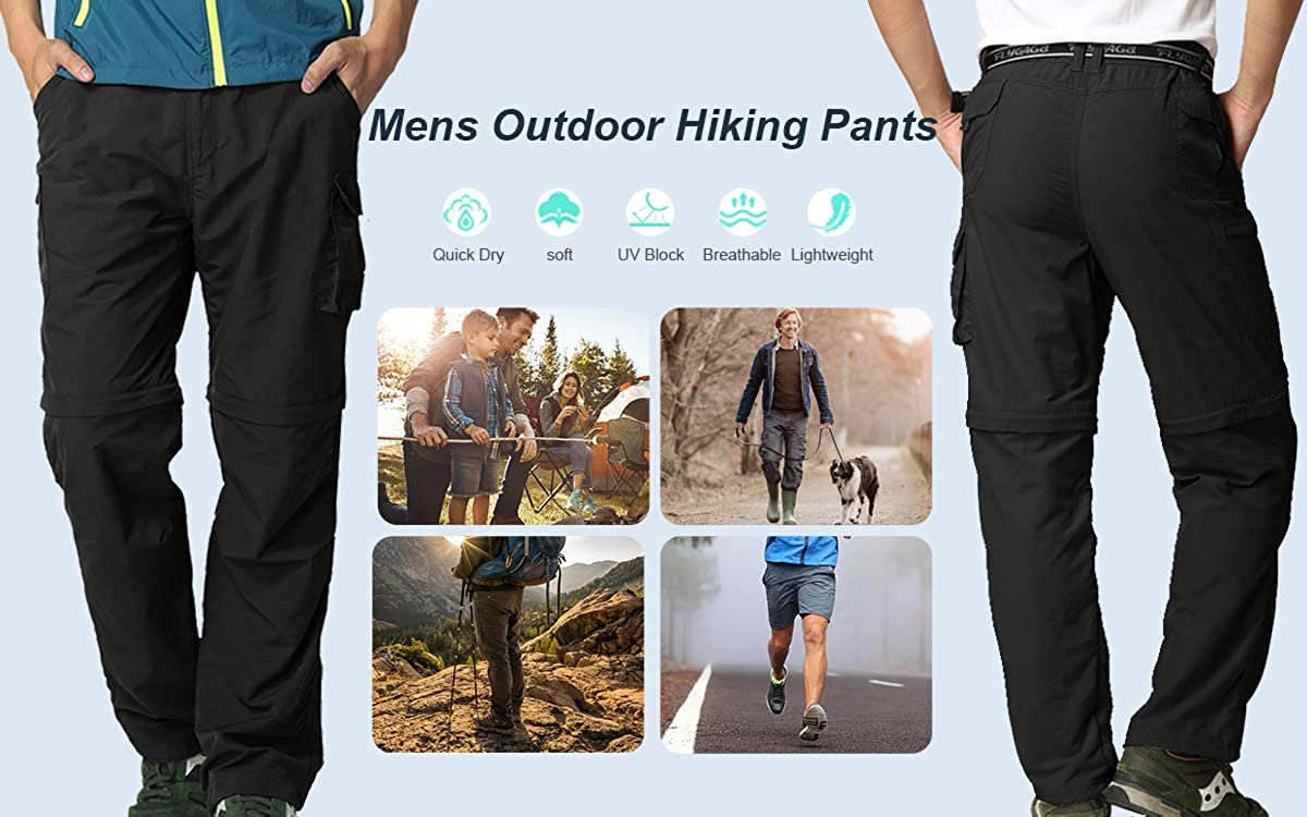 Men Hiking Pants Safari Quick Dry Convertible Cargo Fishing Lightweight Durable Pants Zip Off 10 Inseam Shorts