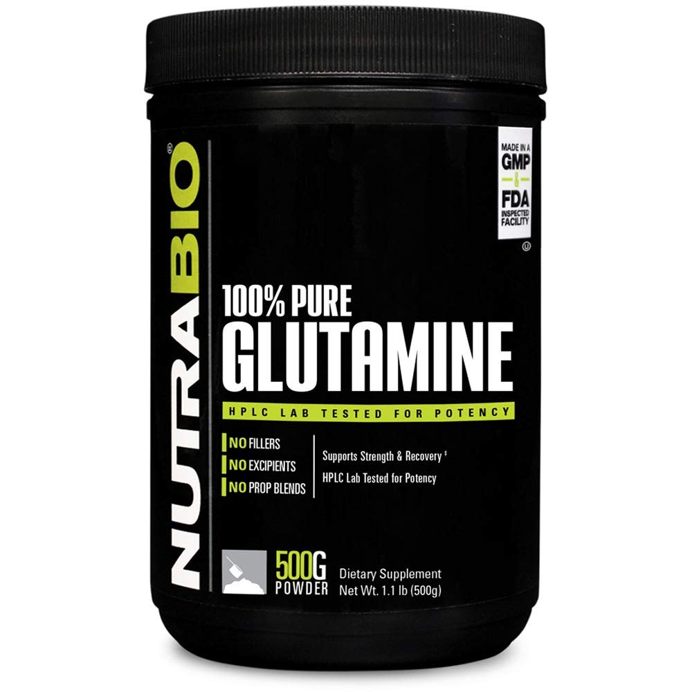 NutraBio 100% Pure L-Glutamine Powder - 500 Grams