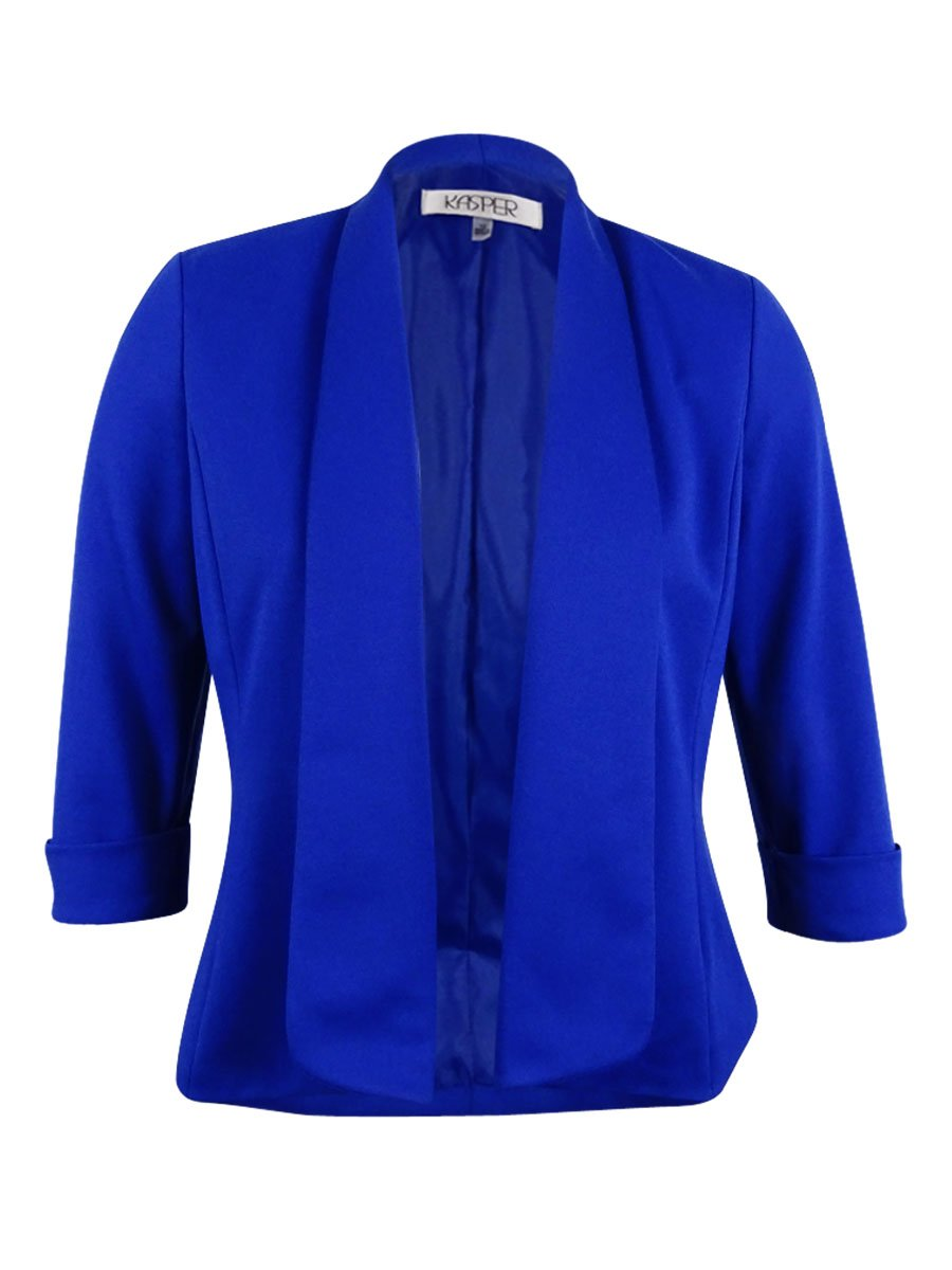 Kasper Womens Callie 3/4 Sleeves Open Front Blazer Blue 8