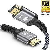 HDMIケーブル ハイスピード 2M HDMI CABLE 4K/2K対応 60Hz 3840p/2160p UHD 3D HDR 18Gbps 高速イーサネット ARC CEC Xbox PS3 PS4 PC対応 (2M, グレー)