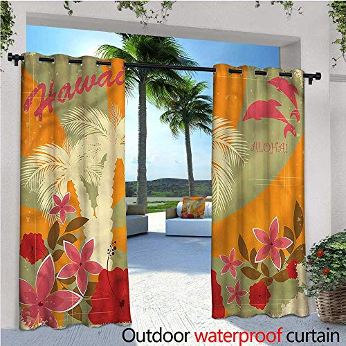 warmfamily Hawaiian Exterior/Outside Curtains Dolphins and Palm Trees for Patio Light Block Heat Out Water Proof Drape W84 x L108