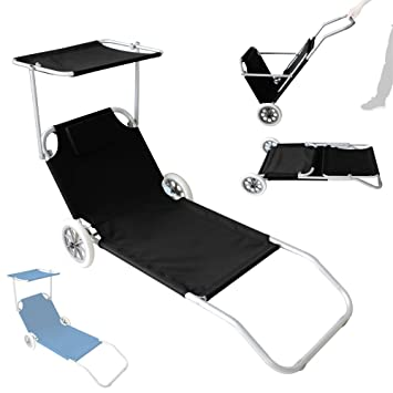 Bain De Soleil Transat Chaise Longue Sur Roulette Plage