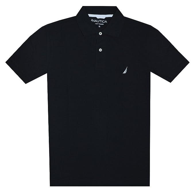 Nautica Men Slim Fit Logo Polo Pique T-Shirt (XXL, Black): Amazon ...