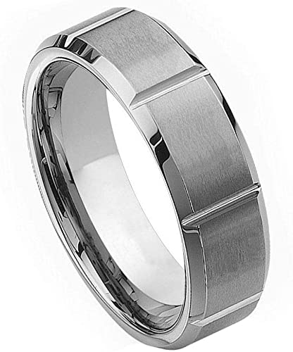 Mens 9mm Pipe Cut Edge Wedding Band High Polished Comfort Fit Tungsten Carbide Anniversary Ring