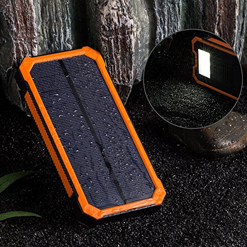 Sunyounger™ 20000mAh Portable Power Bank Dual USB Port Camping Lights Mobile Power Bank Solar Charger Shockproof Waterproof Dustproof Solar Panel Portable Charger Backup External Battery Power Pack for iPhone 6 Plus 5S 5C 5 4S 4, iPad Air Mini, iPods(Apple Adapters not Included), Samsung Galaxy S5 S4 S3,Note 4 3 2, Nexus, HTC, Android Phones,Windows phone, Bluetooth Speakers, MP3, Tablets and Other Devices