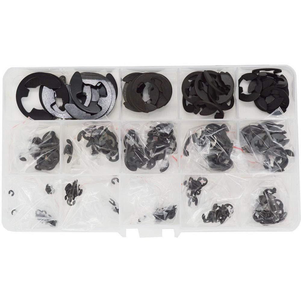 13-Size,Black 400PCS E-Clip Circlip External Retaining Ring External E-Clip Circlip Ring Assortment Kit