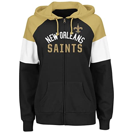 Majestic New Orleans Saints Women s Hot Route Black Zip Up Hooded Sweatshirt  Large d8e3b67395