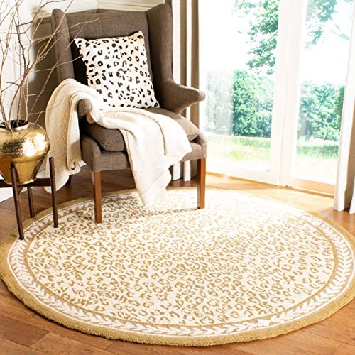Safavieh Chelsea Collection HK15B Hand-Hooked Ivory Premium Wool Round Area Rug 8 Diameter