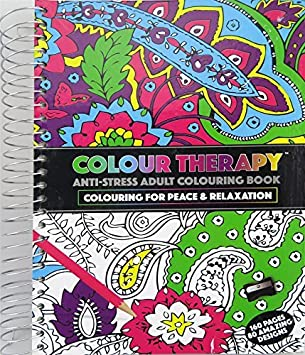 Adults A5 Colour Therapy Anti Stress Pattern Colouring Spiral Bound Book 384035