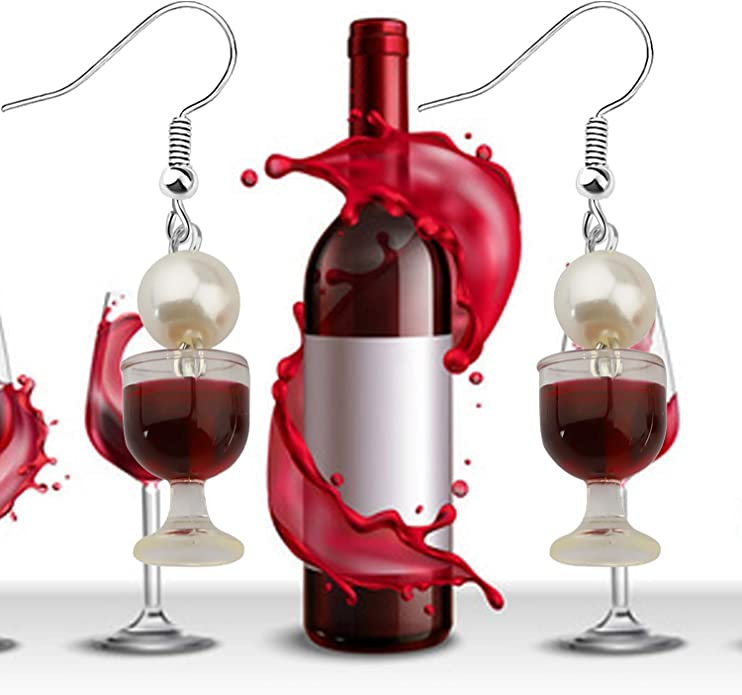 AKTAP Wine Necklace Love Wine Cheers Red Enamel Heart Pendant Necklace Jewelry Gift for Wine Lovers