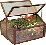 Double Box Garden Wooden Cold Frame Green House Protection Raised Plants Bed New