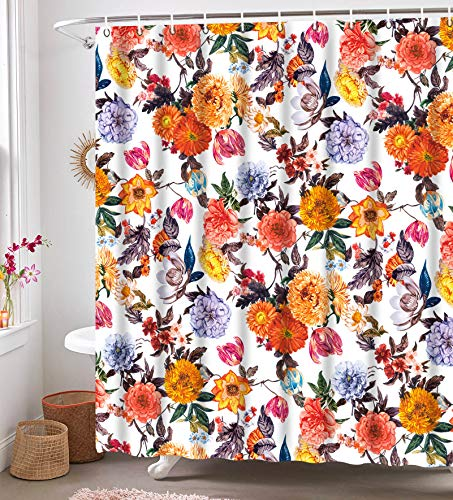 WE-ART Floral  Shower Curtains, Fabric Blossom Shower Curtain set with 12 Hooks, Red White 72