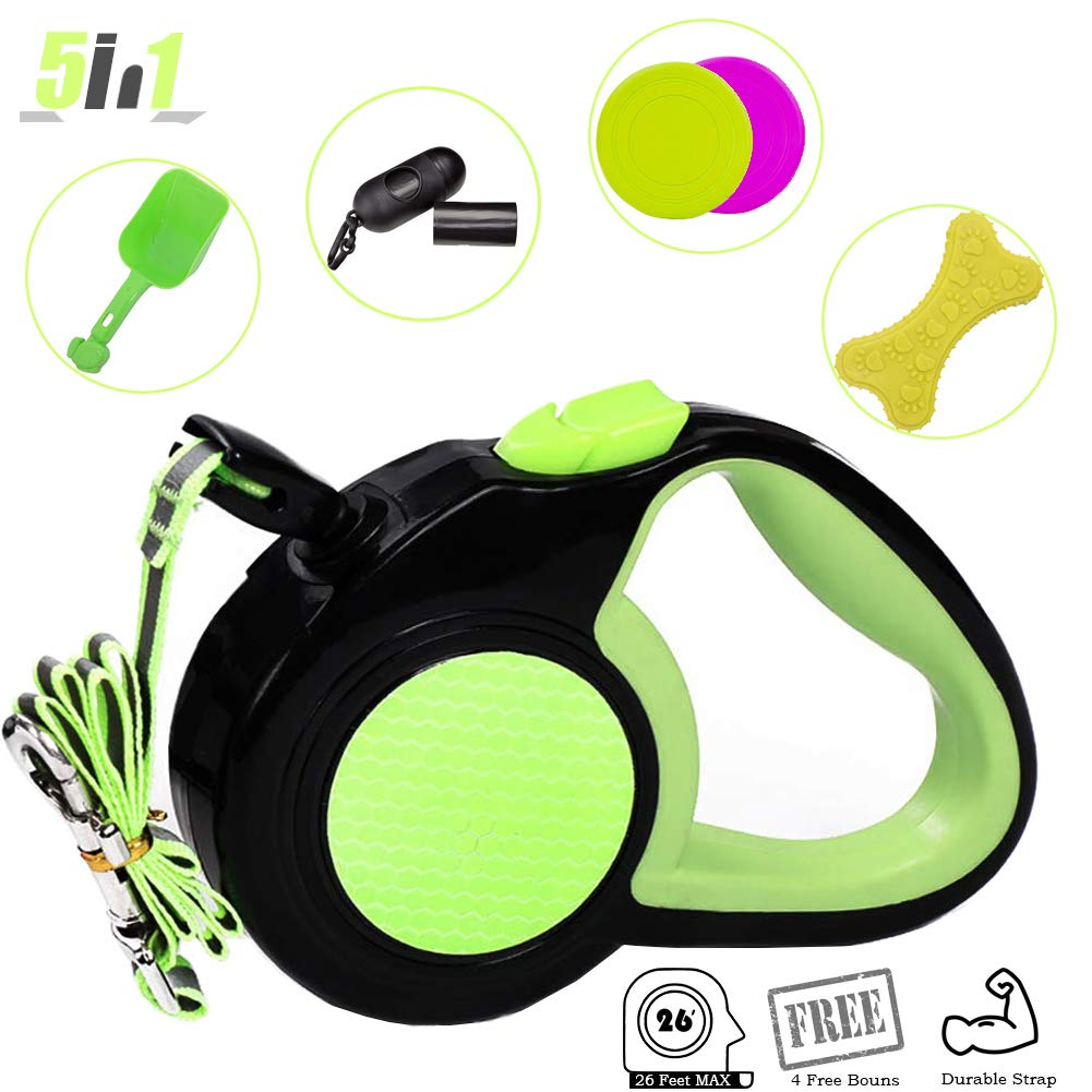 Proplums Retractable Dog Leash with 4 Bonuses and Reflective Straps 26 FT -Pet Outdoor Walking Set- Heavy Duty Pet Leash for Medium Small Dogs (Green)
