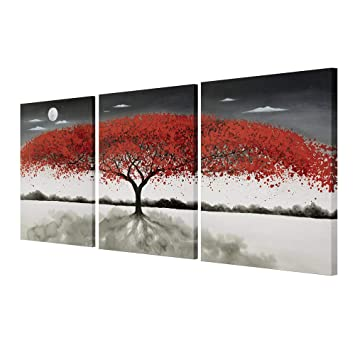 Gold Orange 100% Hand Painted Oil Paintings Hang Flower Landscape Red Tree  Flower Modern Abstract Painting Canvas Living Room Bedroom Office Wall Art  ...