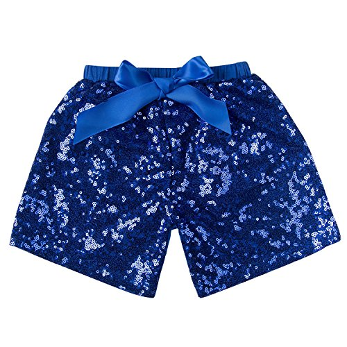 Royal Blue Sequin (Messy Code Baby Girls Shorts Toddlers Short Sequin Pants Newborn Sparkle Shorts with Bow , Royal, S(12Month))