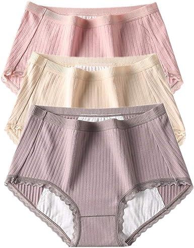 YWRD Bragas Menstruales Bragas Mujer Algodon Pack Bragas sin Costuras para Mujer Stretch Cobertura Pantalones Sexy Acogedor Ropa Interior: Amazon.es: Ropa y accesorios