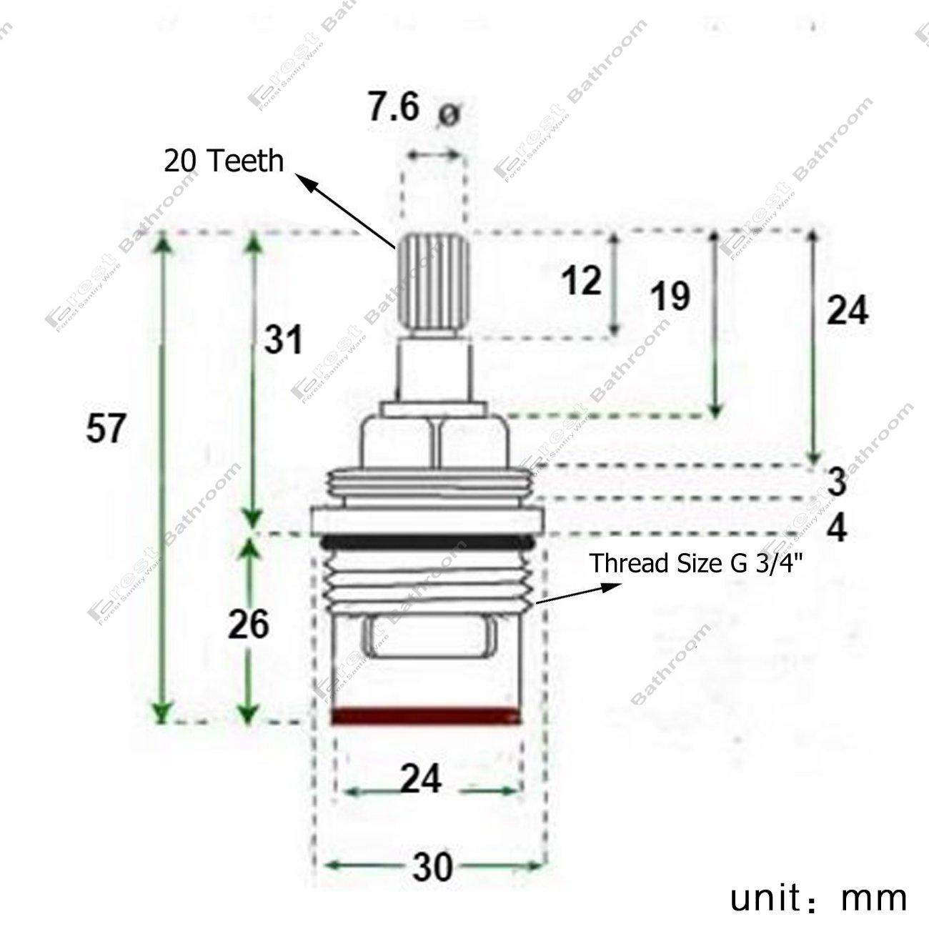 mit Messing Schrauben ownace Paar Ersatz Badewanne Wasserhahn Ventile Quarter Turn Keramik 3//10,2/cm 57/mm 20/Z/ähne