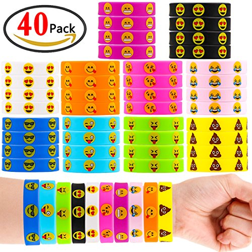 Rubber Kids Bracelets (GeMoor Emoji Bracelets Silicone Bracelets Wristbands Party Supplies for Kids, 10 Colors Rubber Bands Party Favors for Children and Adults - 40 Pieces Rubber Bracelets)