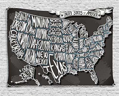 Ambesonne USA Map Tapestry by, American Towns Calligraphy Style City Geography National Artistic Print, Wall Hanging for Bedroom Living Room Dorm, 60 W X 40 L Inches, Charcoal Grey -