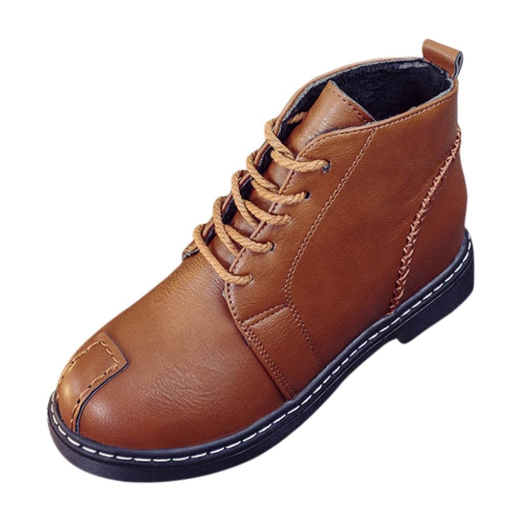 FORUU Woman Casual Ankle Boots Lace-up Low Heels Autumn Boot Four Seasons Shoes (40, Brown)