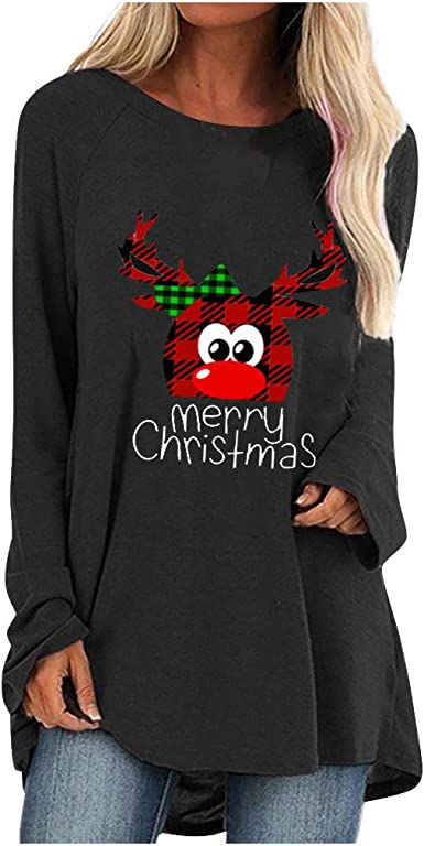 Womens Christmas Reindeer Print Blouse T-Shirt Xmas Casual Pullover Tunic Tops