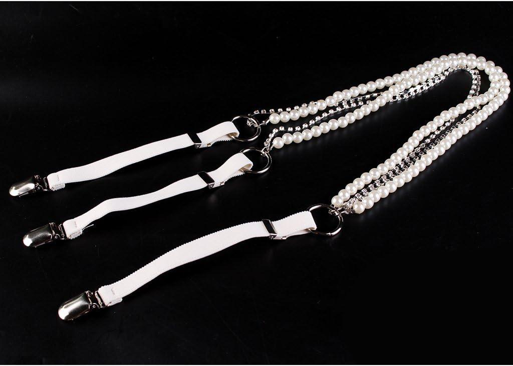 dailymall 2x Damen Y Back Pearl Hosentr/äger Metall Clip On Verstellbarer Elastischer