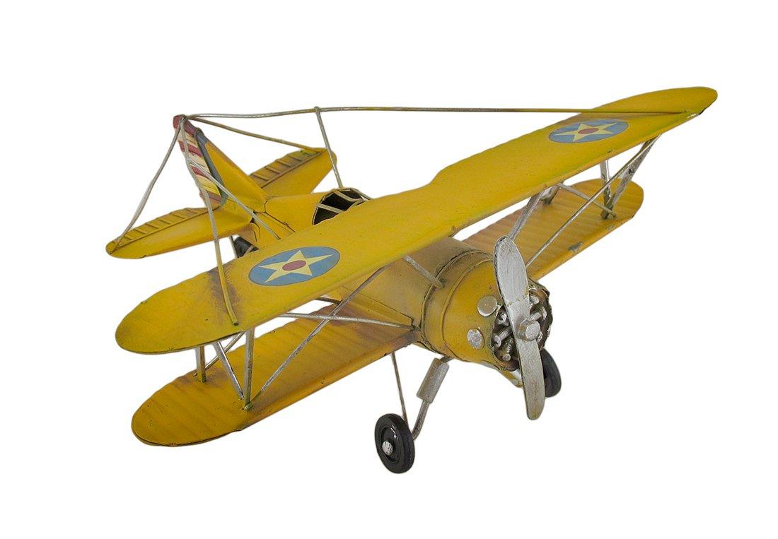 Vintage Style Metal Yellow Biplane Sculpture
