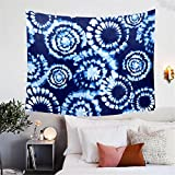 BlessLiving Indigo Dyed Tapestry Hippie Blue Tie Dye Tapestry Psychedelic Home Decor Wall Hanging for Living Room Bedroom Dorm (80 x 60 Inches)
