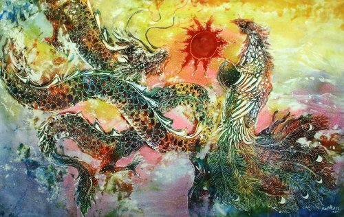 Original Batik Art Painting on Cotton Fabric, 'Oriental Dragon