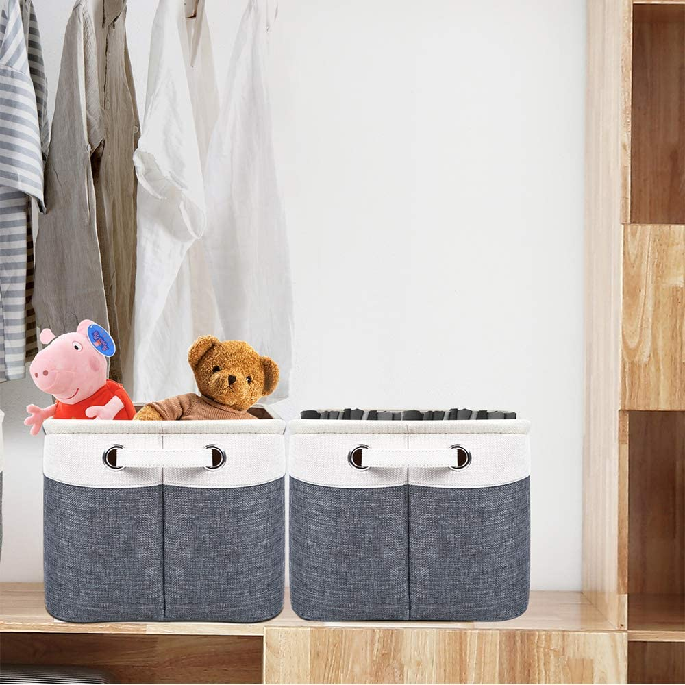 Set of 3 Kntiwiwo Storage Baskets for Closet Fabric Storage Bins for Shelves Decorative Storage Cubes with Handles for Home Closet Bedroom Nursery Organizer