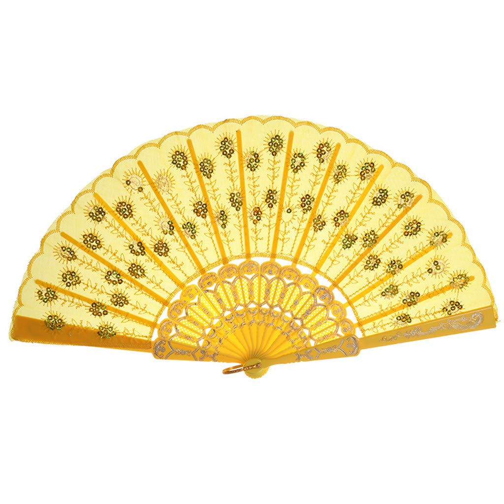 Weiliru Solid Color Handheld Folded Fan Wedding Favor Fan with Cut Gift Box for Bridal Gift Party Favors