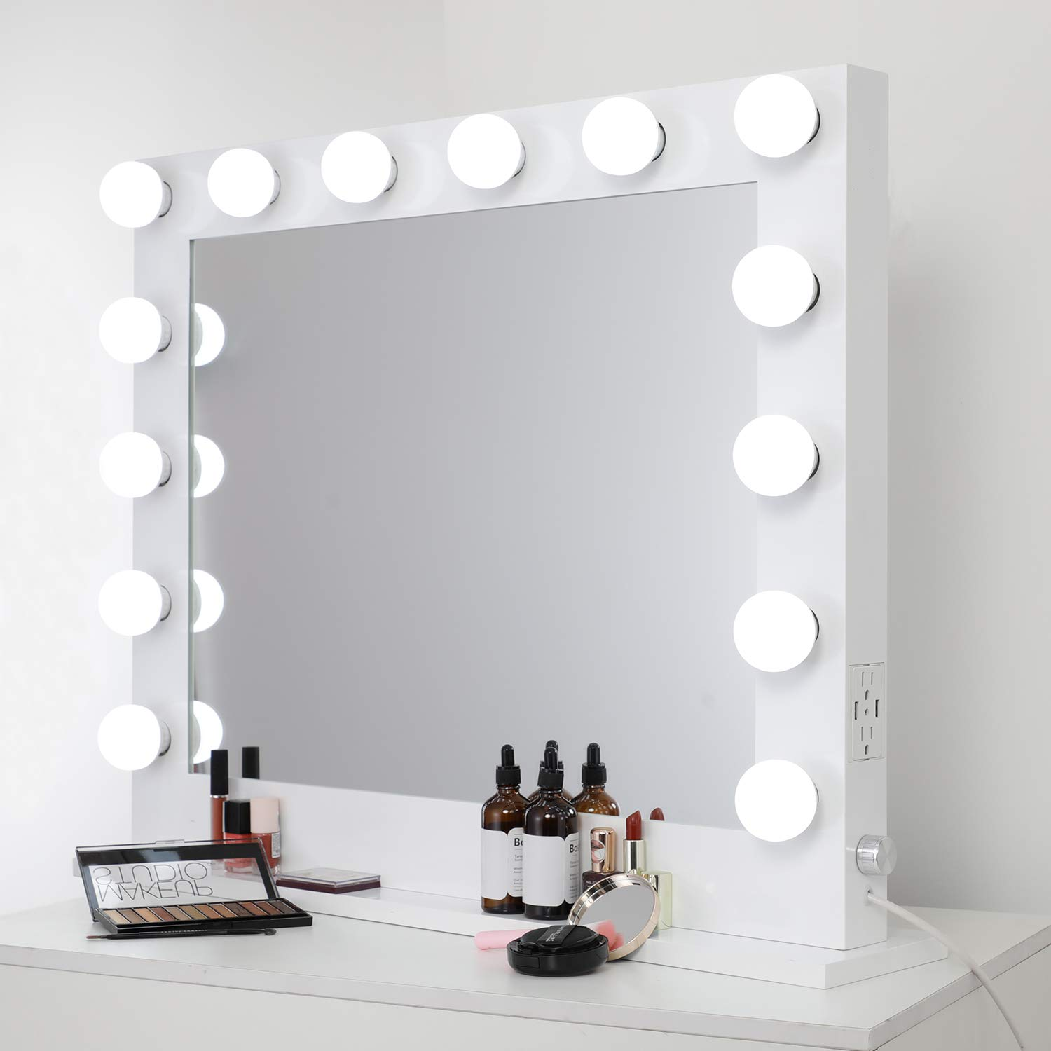 WAYKING Lighted Makeup Mirror, Hollywood Vanity Mirror with Lights, Tabletop or Wall Mounted Vanity Mirror with Dual USB Ports and Outlets, White(L33H26.3 inch) by WAYKING