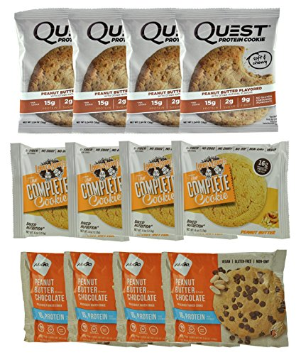 Protein Cookies Peanut Butter Lovers Variety Pack, 4 of each from Quest, Lenny & Larry's, Nugo (12-Pack)