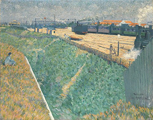 Oil Painting 'Charles Angrand The Western Railway At Its Exit From Paris ' Printing On High Quality Polyster Canvas , 30 X 38 Inch / 76 X 97 Cm ,the (Costume Homme Paris)