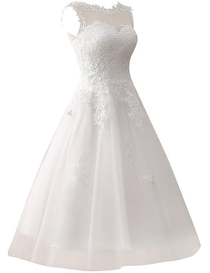 JAEDEN Brautkleid Damen Tüll Hochzeitskleider A Linie Wadenlang Spitze
