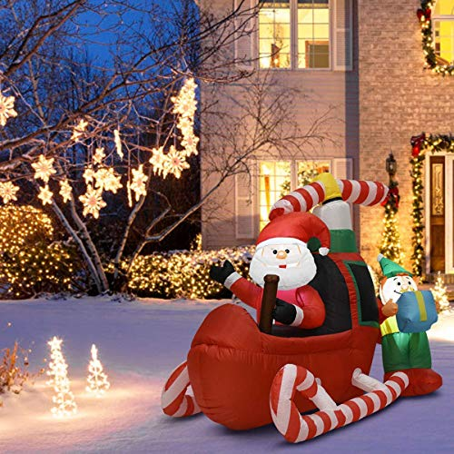 Tangkula 6 Ft Christmas Inflatable Santa Claus Flying Airplane Self Inflating Electric Blow Up Lighted Interior with Fan and Anchor Ropes, Indoor Outdoor Garden Yard Family Prop Decoration