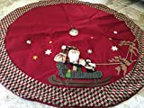 """48"""" Christmas Tree Skirt - Large - Featuring Santa and a Snowman on a Sled Being Led by Reindeer"""