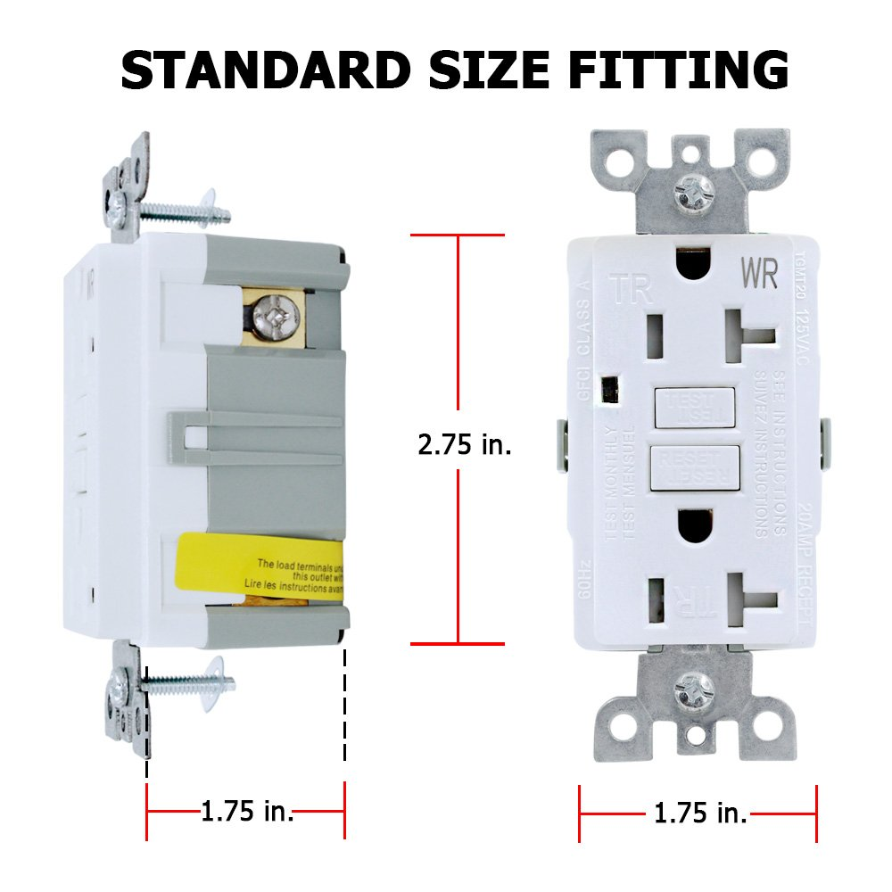 Gfci Wall Outlet Receptacle 20 Amp 125 Volt Tamper Resistant And 15 Circuit Guard White Hd Weather Duplex With Led Indicator Light Ul Listed Comes Plate