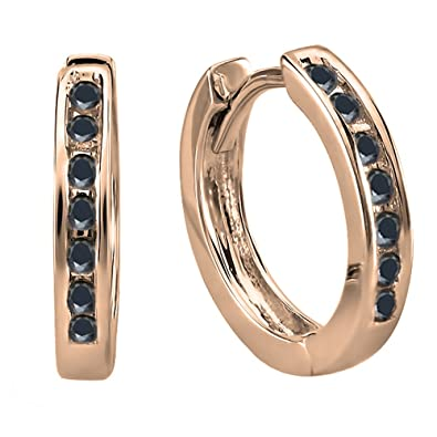 fd8cbd13f Dazzlingrock Collection 14K Small Round Black Diamond Huggie Hoop Earrings,  Rose Gold