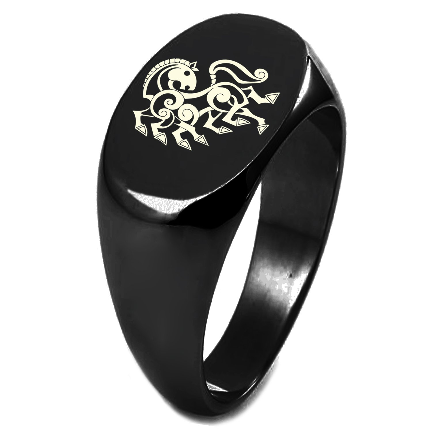 Black IP Plated Sterling Silver Odin's Sleipnir Horse Viking Norse Symbol Engraved Oval Flat Top Polished Ring, Size 7