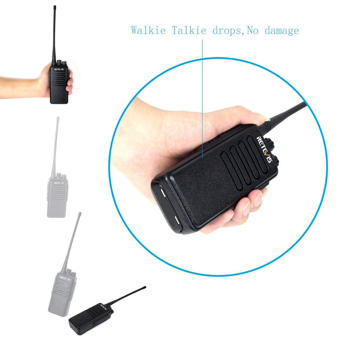 Retevis RT1 High-Power UHF Rechargeable Two-Way Radio 70CM 16CH VOX Scrambler Handheld Transceiver with Earpiece and Speaker Mic 2 Pack LYSB00PJXLX4U-SPRTSEQIP